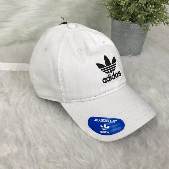098a078edcf Adidas Trefoil White Strapback Dad Hat Cap NWT